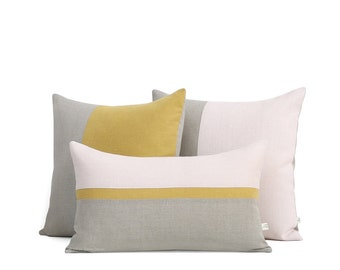 Yellow and Pale Pink Colorblock Pillow Cover Set of 3: Decorative Pillows by JillianReneDecor, Modern Home Decor, Pantone Spring 2017