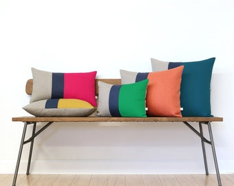 Modern Colorblocked Pillow Cover in your choice of colors, Navy and Natural Linen by JillianReneDecor, Custom Signature Colorblock Pillows