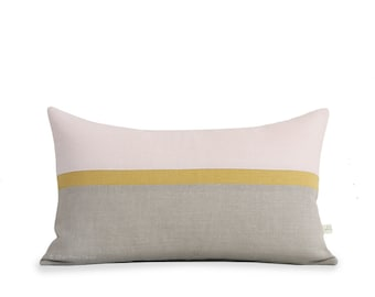 Blush Linen Horizon Line Pillow Cover with Yellow & Neutral Stripes by JillianReneDecor, Modern Home Decor, Color Block, Pale Pink, Squash