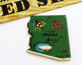 1961 Arizona Brooch - Pin / Unique Wearable History Gift Idea / Upcycled Vintage Wood Jewelry / Timeless Gift Under 25