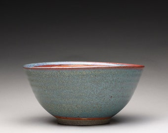 handmade pottery bowl, ceramic serving bowl, noodle bowl with orange shino and green ash glazes