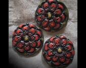 Ceramic Buttons: Red Zinnia