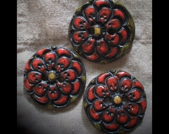 Ceramic Buttons: Red Zinnia