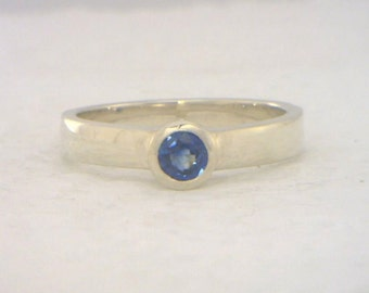 Blue Sapphire Handmade Sterling Silver Ladies Stackable Solitaire Ring size 7.5
