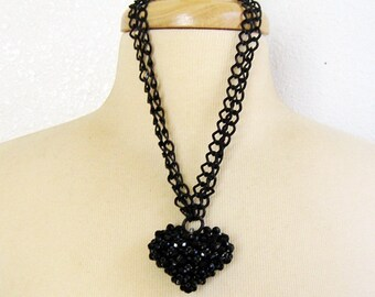 Black Heart Necklace, Heart Necklace, Puffed Heart, Gothic Heart Necklace, Double Strand, Black Chain, Pendant Necklace, Handmade
