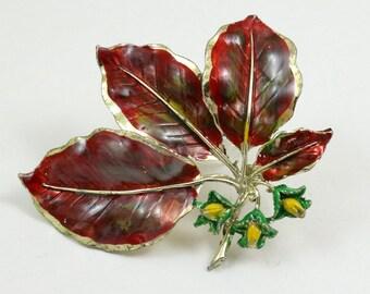 Vintage Signed Exquisite Enamel Leaf Brooch, Beech Tree