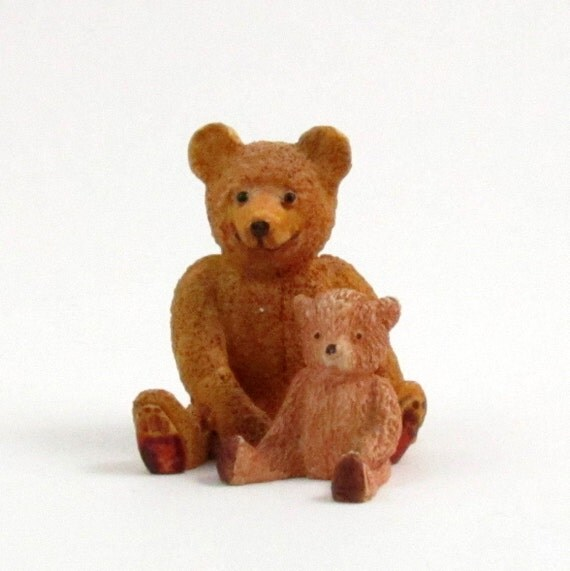 Vintage Miniature Teddy Bears, Carved Wood, Mother Bear and Cub