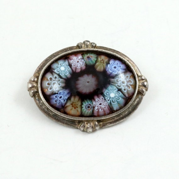 Vintage English Sterling Silver Millefiori Glass Brooch Pin
