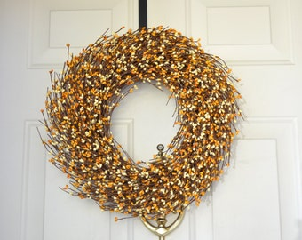 Fall/Spring Berry wreath Fall/Spring Yellow berry wreath Grapevine wreath Fall/Spring Front door wreath Year round wreath