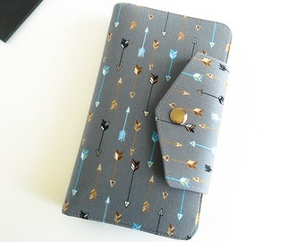 Passport Wallet, Travel Wallet, Family Passport Holder in Arrows on Grey to Fit Up to Four Passports -  Made To Order