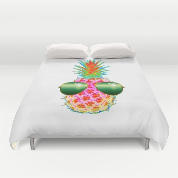 Electric Pineapple with Shades POP Art Duvet Cover, Neon Colors Decorative bedding, POP art Decor, Fruit bedding, Modern Decor, Dorm, Funky