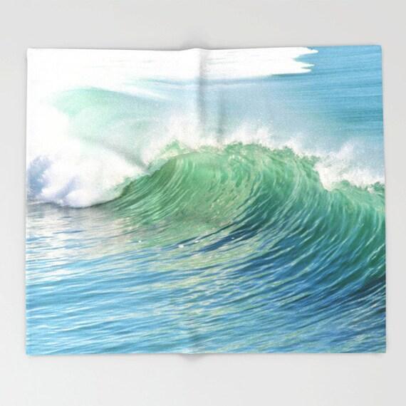 Waves Throw Blanket, Super Soft Blanket, Waves Home Decor, Ocean Blanket, Blue White Blanket, Office Throw,Surf, Coastal, Beach,Dorm Blanket