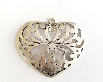 1 pc Matte  Silver Plated Base Heart  Pendant - Heart 75x65mm-(404-031SP)
