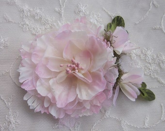 Pink Cream Organza Peony Rose Flower w Rose Bud Bridal Hair Accessory Pin