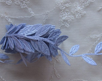 3 yds Purple Blue leaf trim on a vine great for scrapbooking quilts clothing holiday bridal