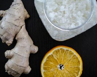 Orange Ginger Salt Glow- Dead Sea Salt, salt scrub, dead sea salt, soft hands, dry cracked skin, spa treatment,soft hands,moisture,bath body