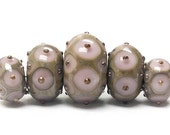 ON SALE 35% OFF Five Lavender Pink w/Metal Dots Graduated Rondelle Beads - Handmade Glass Lampwork Beads - 10602811