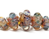 ON SALE 35% OFF Five Graduated Multi-Colored Rondelle Beads Bubbly raised design. - Handmade Glass Lampwork Beads - 10902711