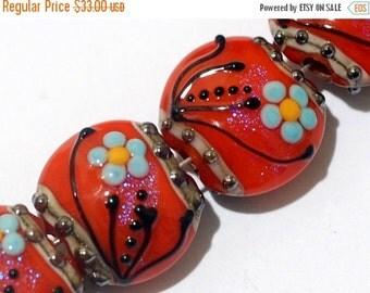 ON SALE 50% OFF Four Vintage Floral Lentil Beads 10706512 - Glass Lampwork Bead Set