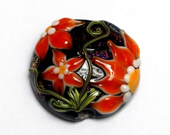 NEW! 11838002 Clementine's Elegance Lentil Focal Bead - Handmade Glass Lampwork Bead
