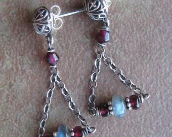 Labradorite and Garnet Post Dangle Earrings