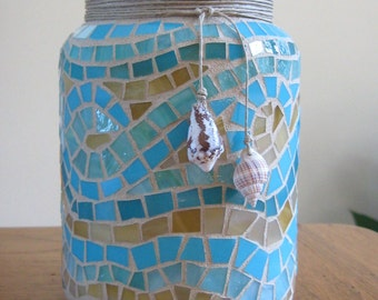 Stained Glass Mosaic Candle Holder-Natural Seashells-Aqua-Tan-Home Decor-Beach Decor-Mosaic Art-Decorative Storage Jar-Desk Accessory