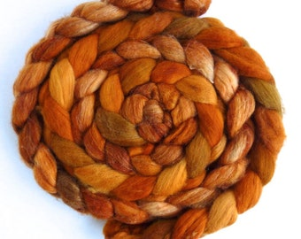 Merino/ Superwash Merino/ Silk Roving (Top) - Handpainted Spinning or Felting Fiber, Golden Beauty
