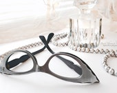 50's Eccentric French Slim Cat Eye Glasses Silver Grey Scalloped Eyeglass Frames France Back Thennish Vintage