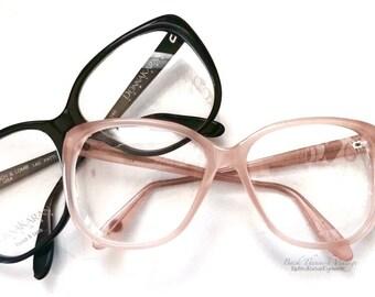 NOS Donna Karan 80's Oversized Black Eyeglasses 'PATTI' Bausch & Lomb USA Eyewear Eyeglass Frames Retro Kitsch