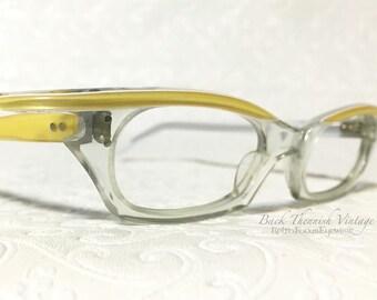 50's Eccentric French Slim Cat Eye Glasses Yellow Browline Crystal Clear Eyeglass Frames France Back Thennish Vintage