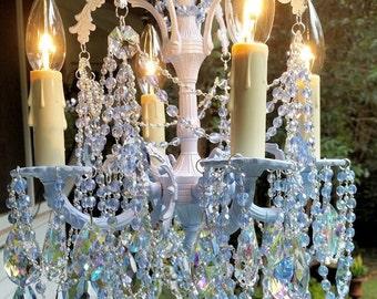 Reserved for Susan - Vintage Pale Blue Petite Crystal Chandelier, Baby Blue Chandelier, Vintage Petite Chandelier, Vintage Lighting