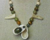 Bloodstone Carved Shed Elk Antler Pill Box Hemp Necklace Adjustable Length Medium Size with Antler Tips Unakite Tiger Eye Moss Agate Beads