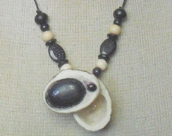 Blue Goldstone Carved Shed Elk Antler Pill Box Necklace Large Size Adjustable Length with Semiprecious Stone Gemstone Beads OlyTeam