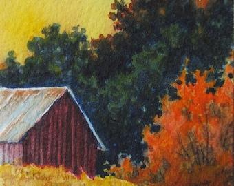 Golden Evening, original watercolour ACEO, tiny painting