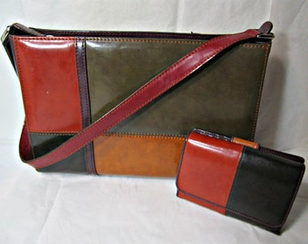 Vintage Patchwork Purse and Wallet Vintage Leather Bag and matching Wallet