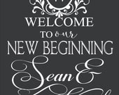 Wedding Welcome to our New Beginning His and Hers Names Custom Wall Decor Words Vinyl Lettering Decal