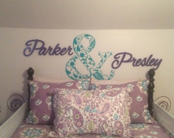 Custom Ampersand made of floral elements Letter Wall Art in Vinyl Lettering