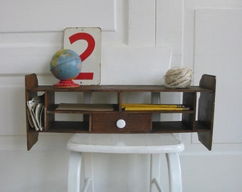 Vintage Wood Shelf, Wood Display, Desk Top Organizer, Wood Box, Supplies Storage
