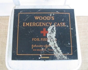 Vintage Metal First Aid Case, First Aid Box, First Aid Kit, Black Box, Metal Box, Red Cross, Industrial Box, Johnson