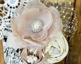 Bridal Hair Flower, Fabric Flower, Bridal Hair Piece,Hair Pin ,Wedding Hair Flower, Bridal Hair Accessory, Wedding Hair Clip,Blush Flower