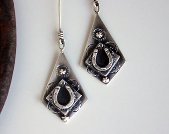 Four Times the Luck... sterling silver,  horseshoe, good luck earrings