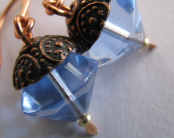 Blue Earrings, Sky Blue Crystal Earrings, Pale Blue and Antique Copper Earrings