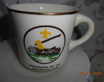 1978 Boy Scouts of America Porcelain Mug Woodbadge NC-342 Arrowhead 1978