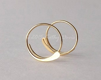 Gold Hoop Earrings Hammered Open Hoops 14k Gold Filled, Choose Your Size, eco friendly womens jewelry