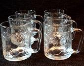 1980's KIG Indonesia Set of 6 Glass Handeled Cups