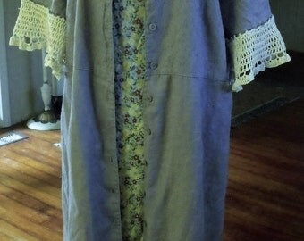 Linen Coat/ Linen Dress/ Plus Size Spring Coat/ Linen-Crochet Spring Wear/ Blue-Gray Spring Coat-Dress