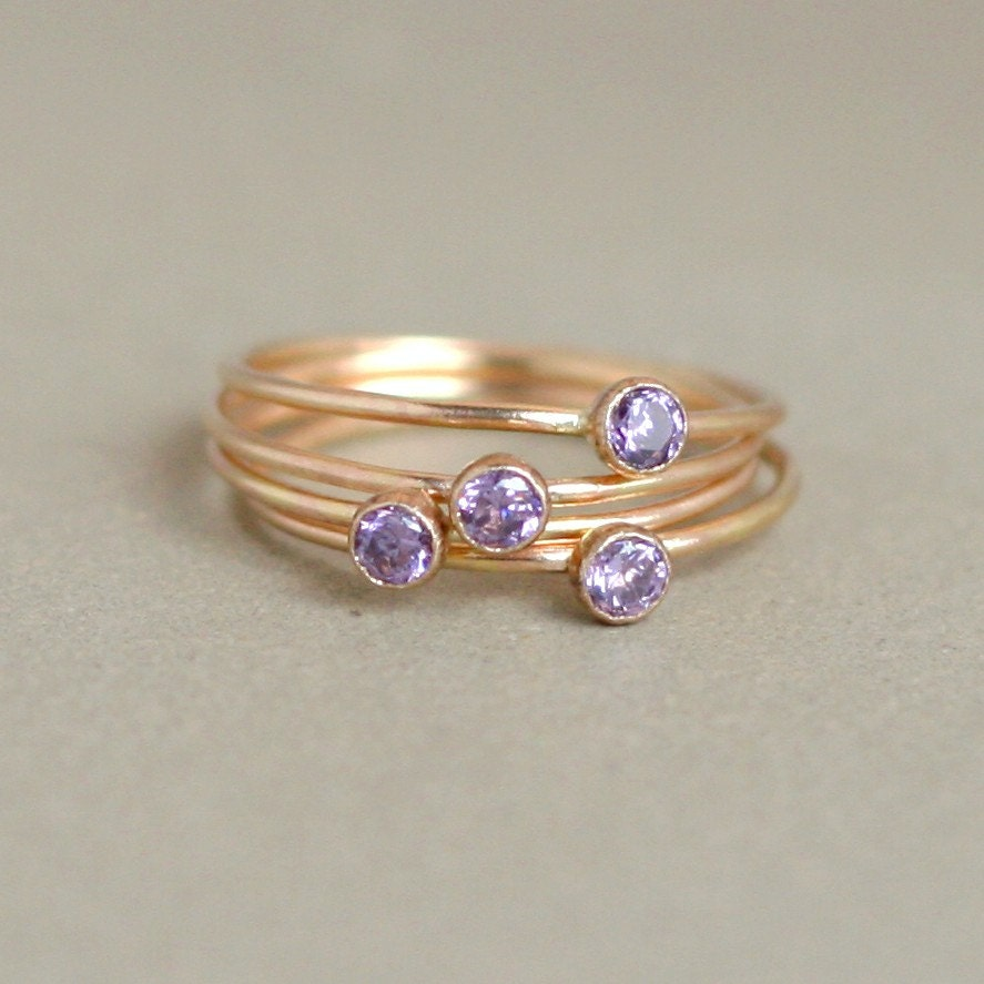 amethyst ring gold birthstone ring one dainty stackable