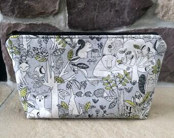 Woodland Animals Make-Up Bag- Japanese Imported Fabric