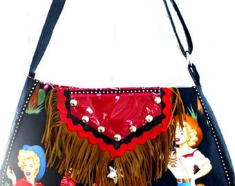 Rockabilly saddle bag, pinup cowgirls, retro western bag, rockabilly wedding, vegan leather, western bag, cross body bag,