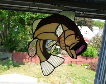 Large Mouth  Bass Suncatcher in browns or greens Stained Glass